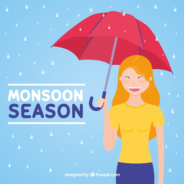 Monsoon season background with girl and\ umbrella