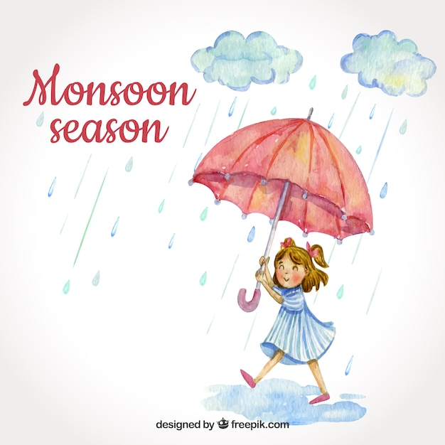 Monsoon season background with girl Free Vector