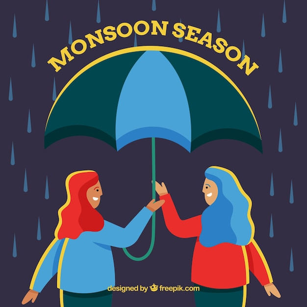 Monsoon season background with girls Free Vector