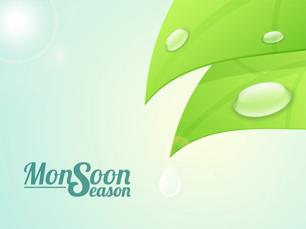 Monsoon Season background with illustration of\ water drops on glossy green leaves.