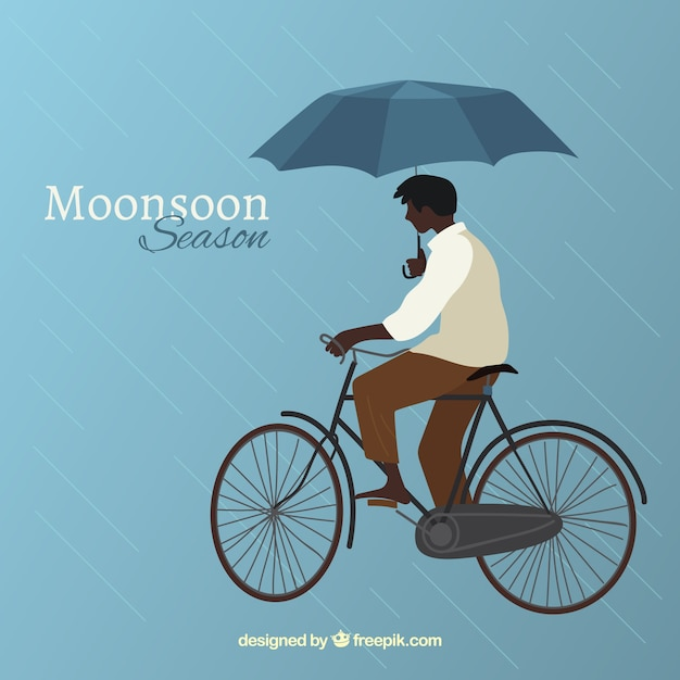 Monsoon season background with man in bicycle Free Vector