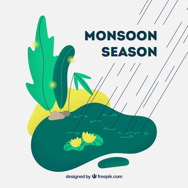 Monsoon season background with nature
