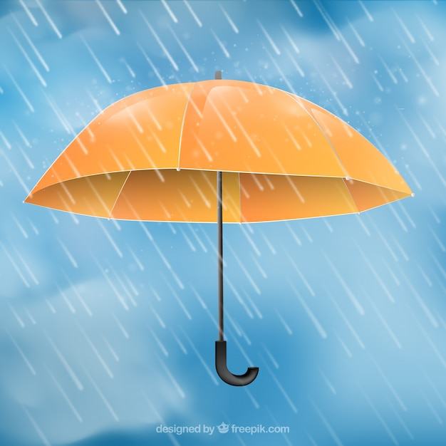 Monsoon season background with orange\ umbrella