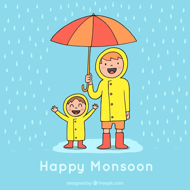 Monsoon season background with rain and\ umbrella