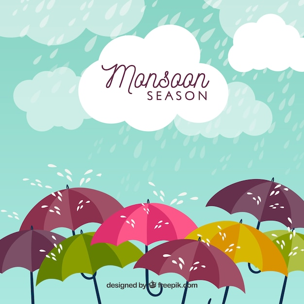 Monsoon season background with rain and umbrellas Free Vector