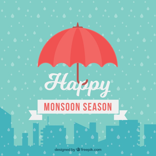 Monsoon season background with red\ umbrella