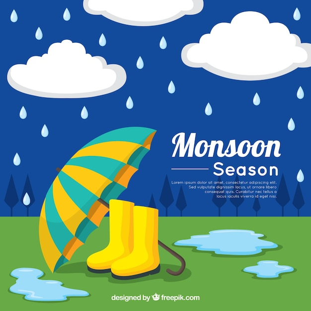 Monsoon season background with umbrella and boots Free Vector