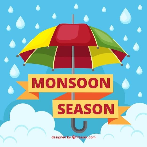 Monsoon season background with umbrella