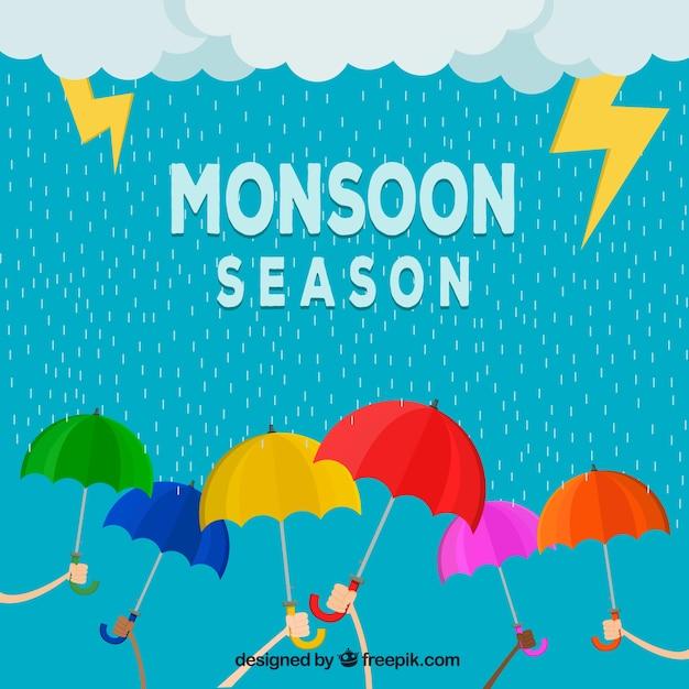 Monsoon season background with umbrellas
