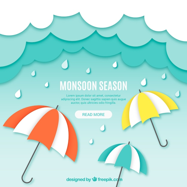 Monsoon season composition origami style Free Vector