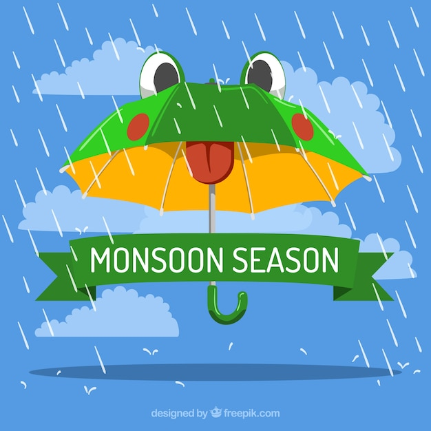 Monsoon season composition with flat\ design