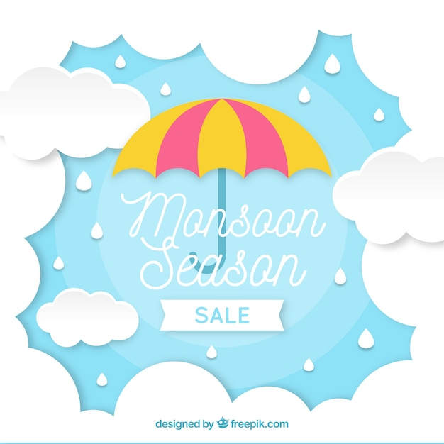 Monsoon season composition with origami\ style