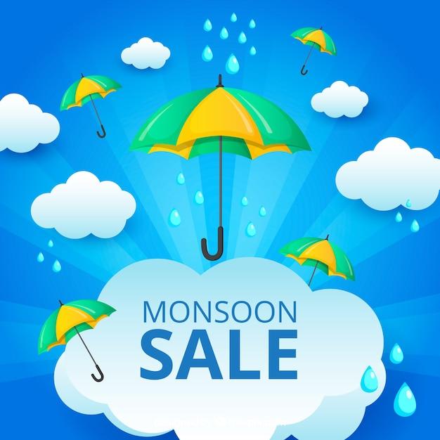 Monsoon season sale background in flat style Free Vector