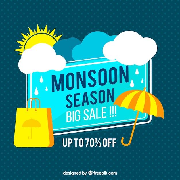 Monsoon season sale background in flat\ style