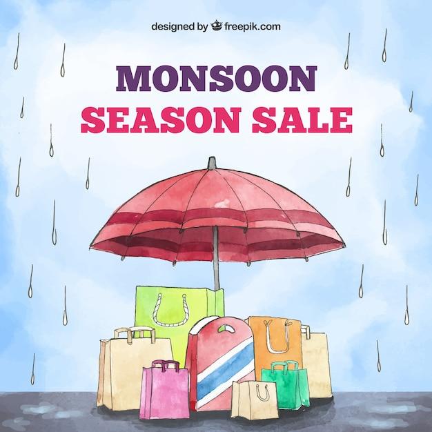 Monsoon season sale background in watercolor\ style