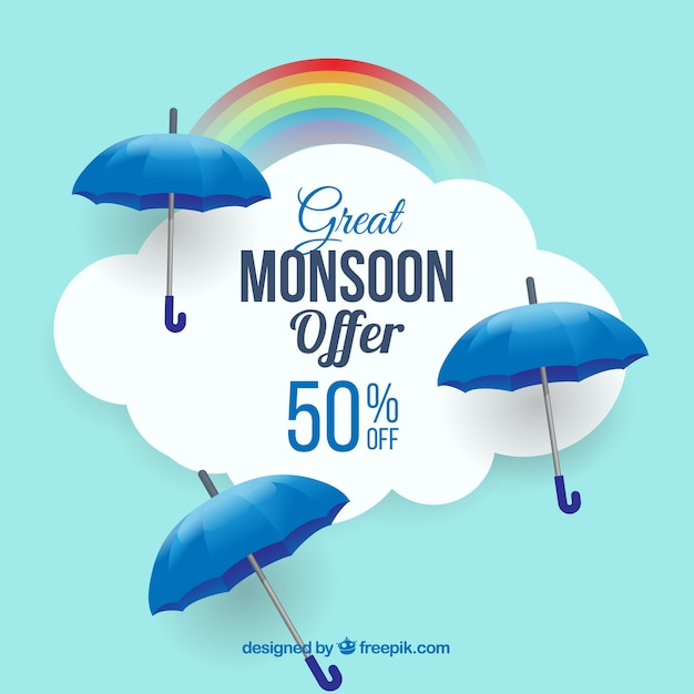 Monsoon season sale background with blue\ umbrellas