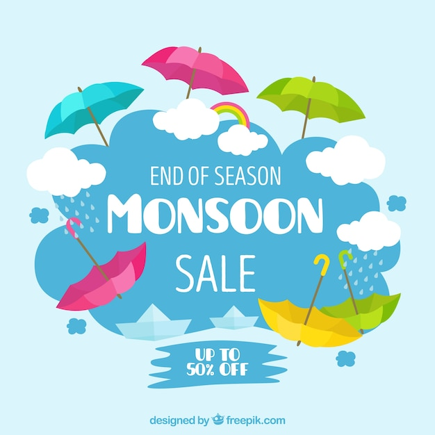 Monsoon season sale background with colorful umbrellas Free Vector
