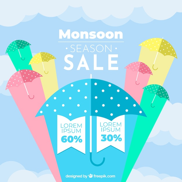 Monsoon season sale background with colorful\ umbrellas