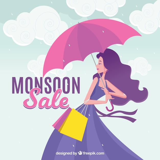 Monsoon season sale background with girl and umbrella Free Vector
