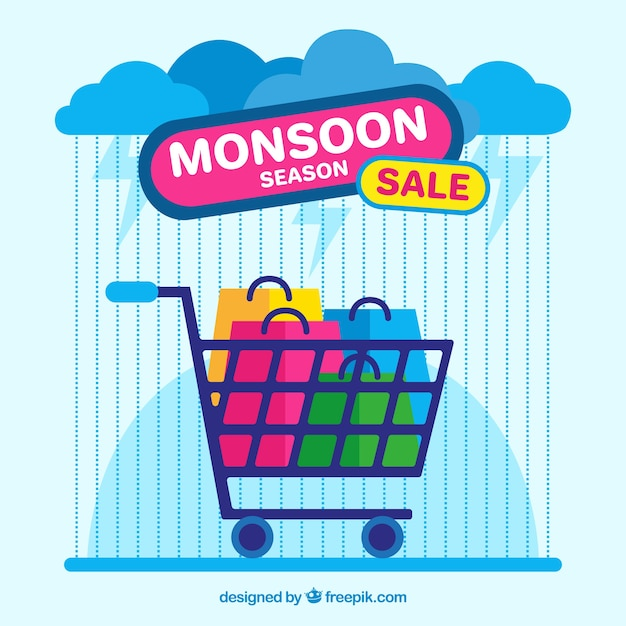 Monsoon season sale background with shopping cart Free Vector