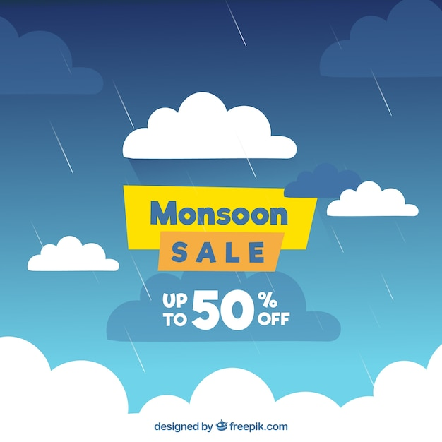 Monsoon season sale background with sky full of\ clouds