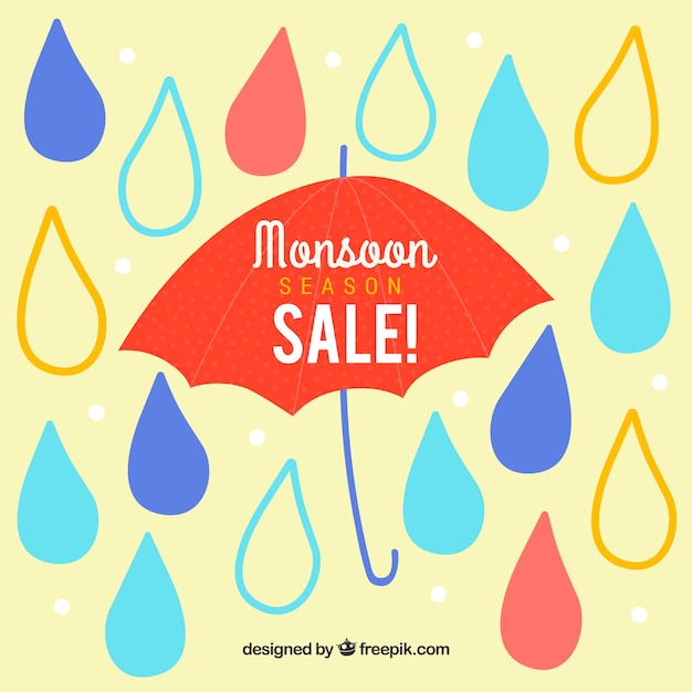 Monsoon season sale background with\ umbrella