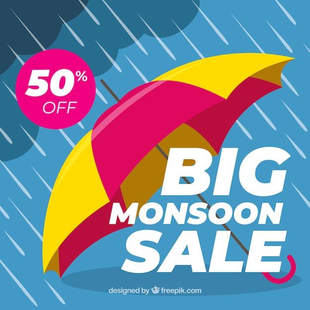 Monsoon season sale background with\ umbrella