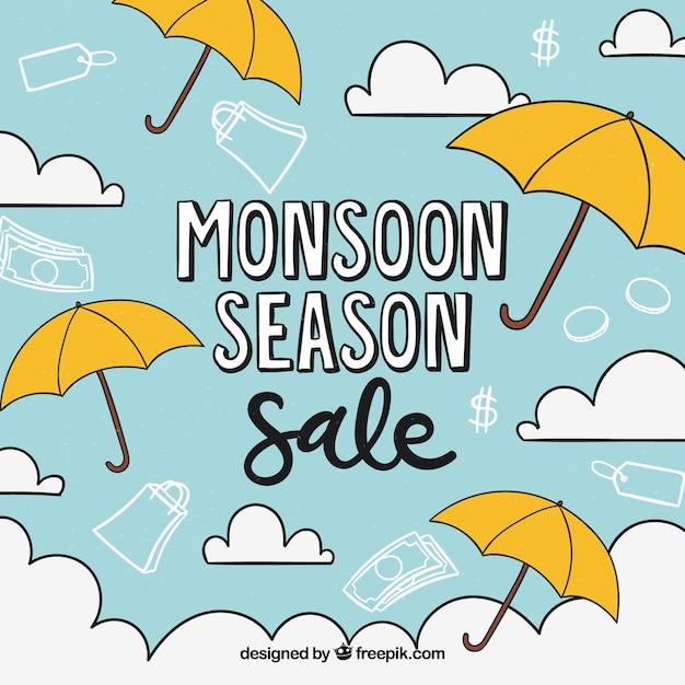 Monsoon season sale background with\ umbrellas