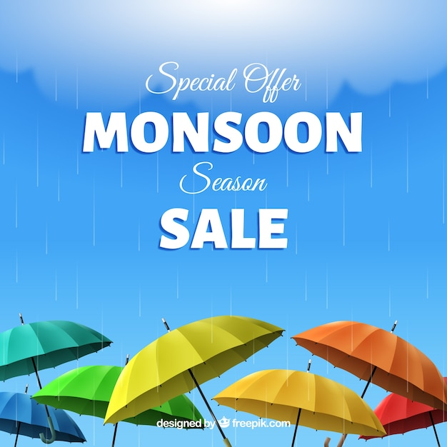 Monsoon season sale background with\ umbrellas