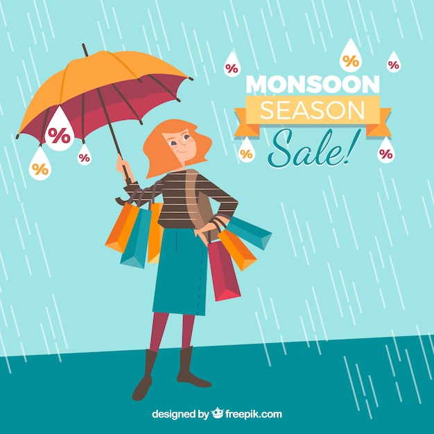 Monsoon season sale background Free Vector