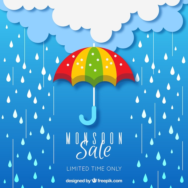 Monsoon season sale composition with flat design Free Vector