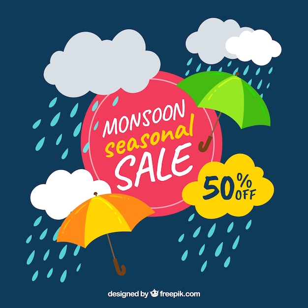 Monsoon season sale composition with flat\ design