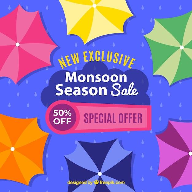 Monsoon season sale composition with flat\ design