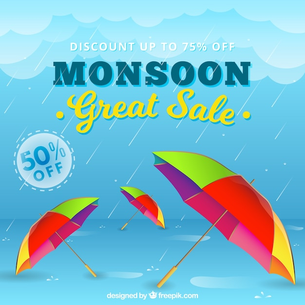 Monsoon season sale composition with realistic\ design