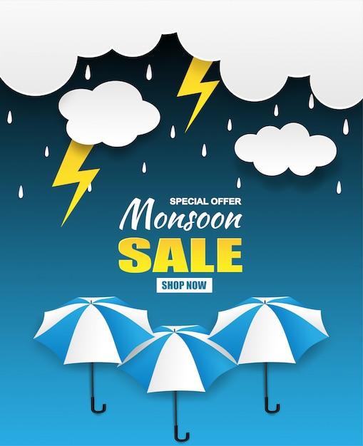 Monsoon season sale Premium Vector