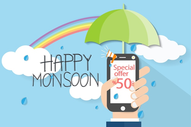 Monsoon with hand Premium Vector