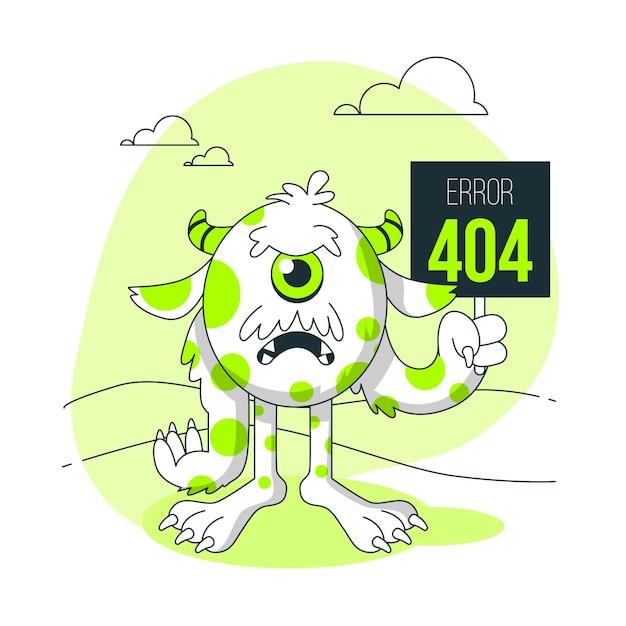Monster 404 error concept illustration Free Vector