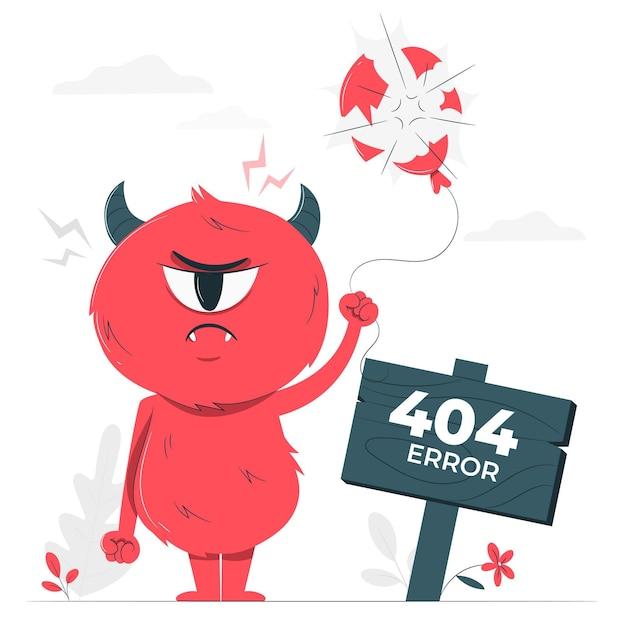 Иллюстрация концепции ошибки monster 404 Бесплатные векторы