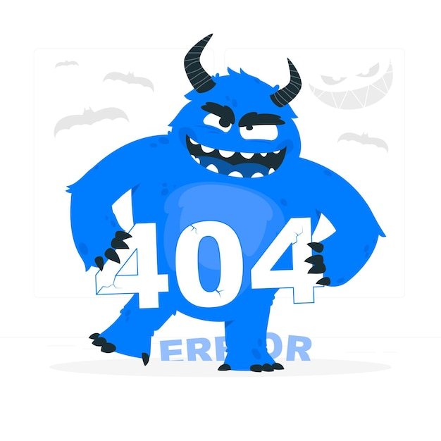 Monster 404 error concept illustration Free Vector