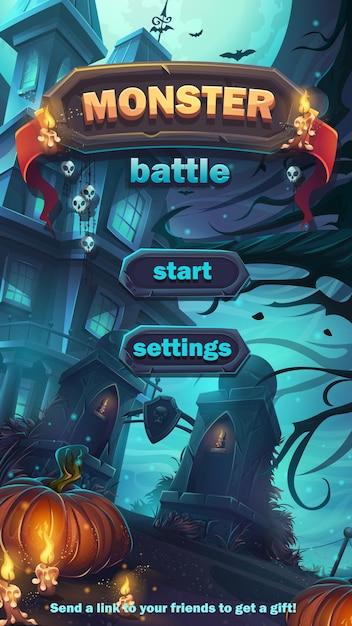 몬스터 전투 Gui 시작 경기장 일치-만화 스타일의 그림 옵션 버튼, 게임 항목, 카드가있는 모바일 형식 창. 프리미엄 벡터