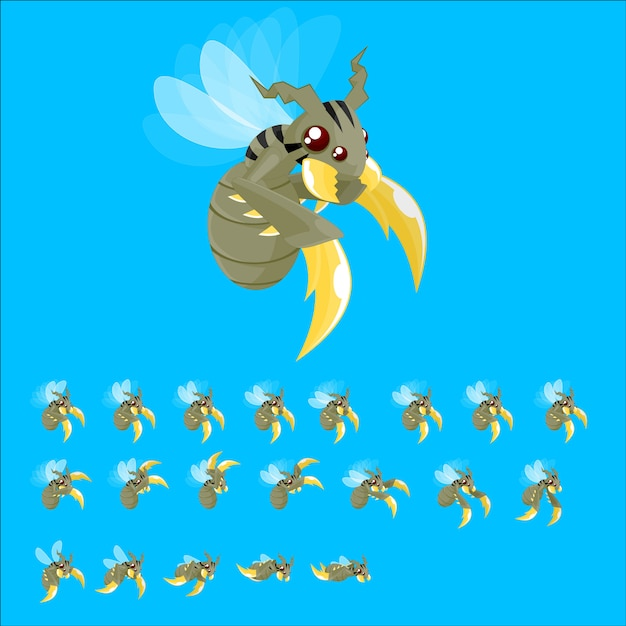 Monster bee game sprites Premium Vector