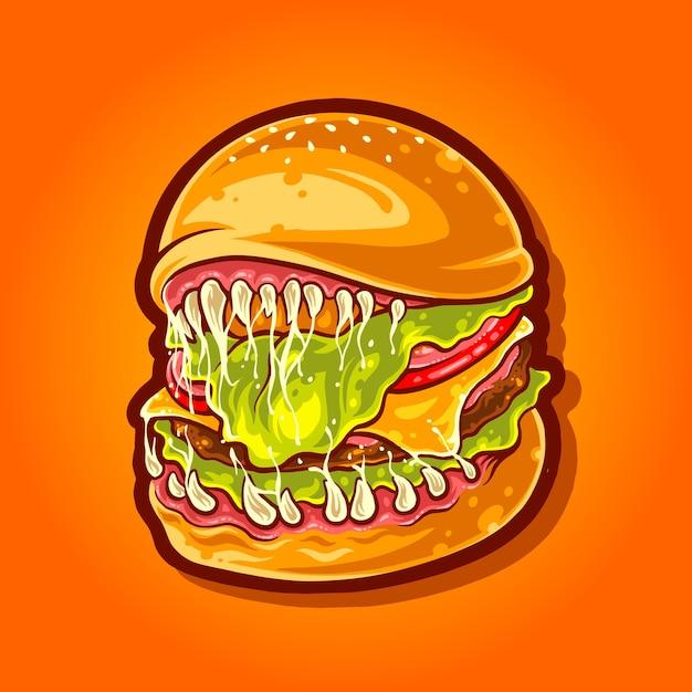モンスターハンバーガー怖い食べ物イラスト Premiumベクター