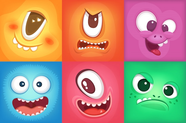 Monster cartoon faces. demon smiles and big crazy mouth. vector monster funny, illustration of color Premium Vector