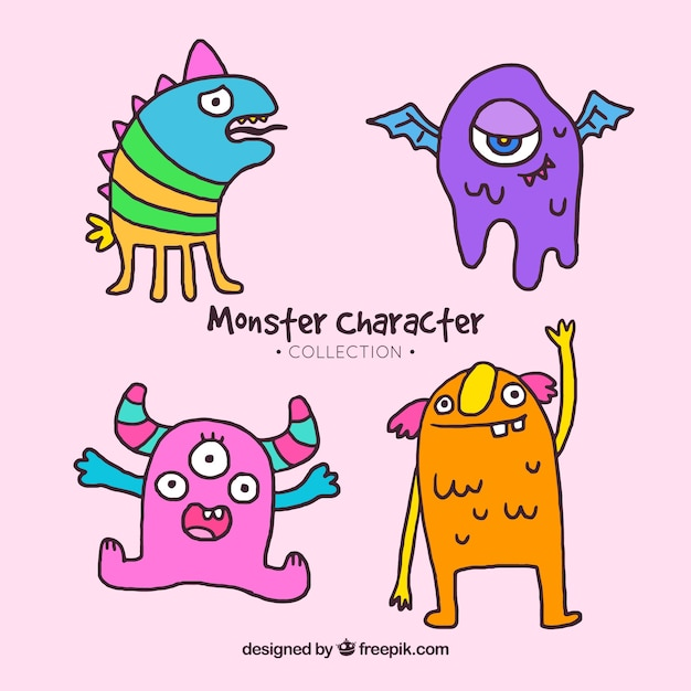 Monster character collection Free Vector