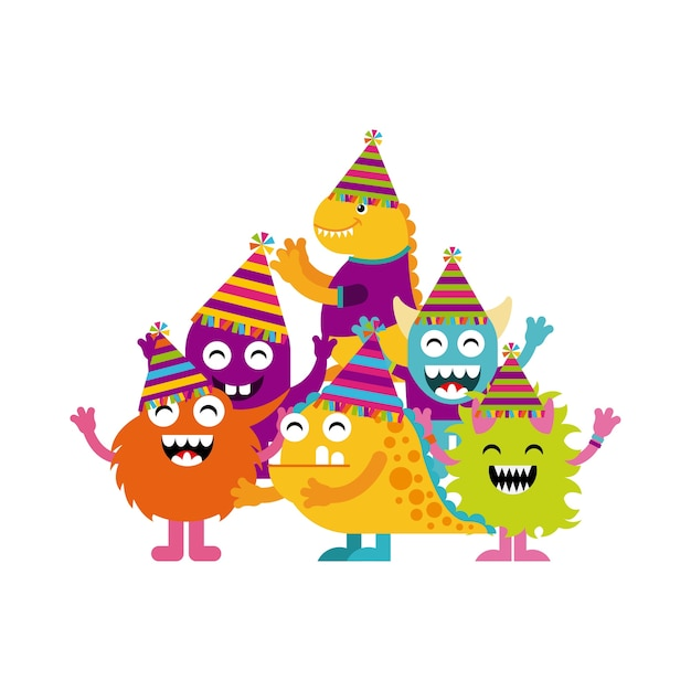 Monster characters in birthday party Premium Vector