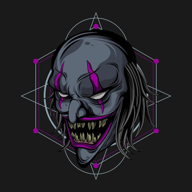 Monster clown Premium Vector