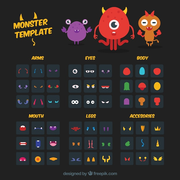 monster creation template Free Vector