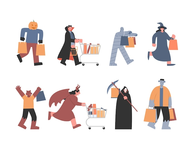 Monster and devil in different shopping pose include vampire, witch werewolf, and other ghosts from fantasy fiction. concept illustration about halloween shopping. Premium Vector
