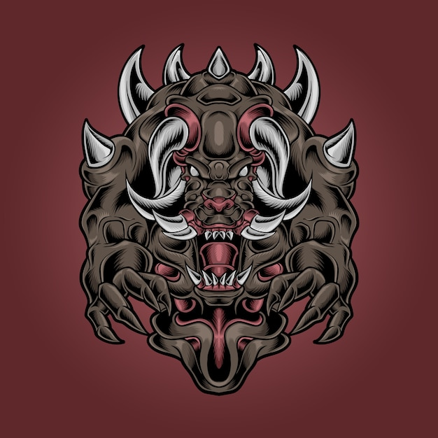 モンスター悪魔の牙と角のあるイラスト Premiumベクター
