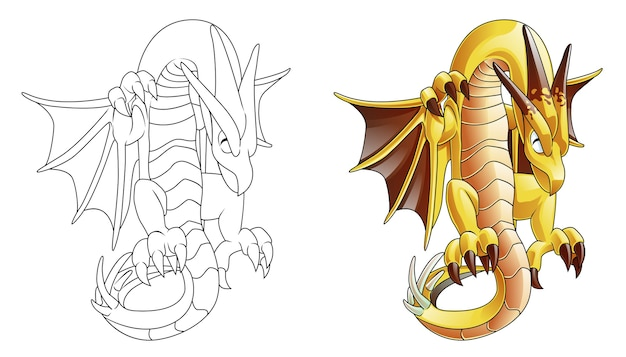Раскраска мультяшный дракон-монстр для детей Premium векторы